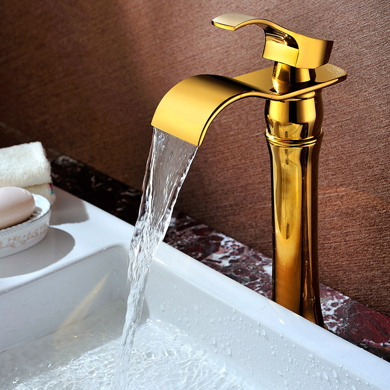 ФОТО Bathroom faucets golden tall sink tap waterfall mixer tap sink faucet waterfall tap bathroom antique mixer faucet SD-H-002C