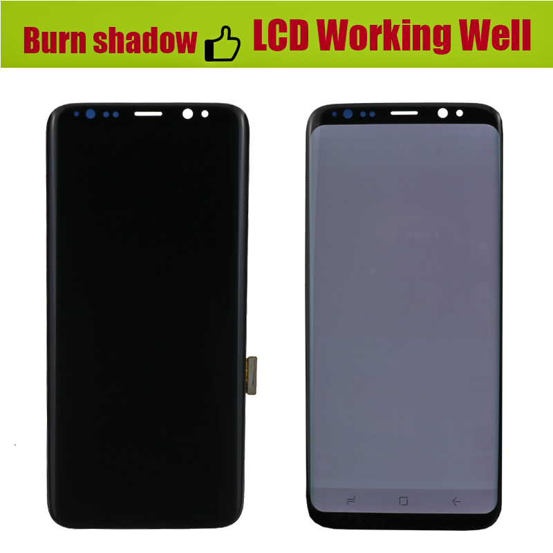 Image 2 - ORIGINAL Burn Shadow S8 LCD with frame for SAMSUNG Galaxy S8 G950 G950F Display S8 Plus G955 G955F Touch Screen Digitizer-in Mobile Phone LCD Screens from Cellphones & Telecommunications