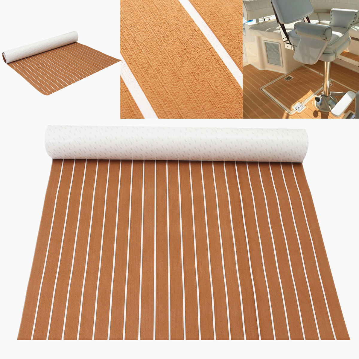 1200x2400x5mm Self Adhesive Teak Flooring EVA Foam Teak Sheet Teak Boat Decking Marine Car Yacht Floor Mat Synthetic Teak Pad