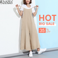 ZANZEA New Summer Rompers Womens Jumpsuits 2017 Sleeveless Straps Pockets Solid Wide Leg Retro Full Length