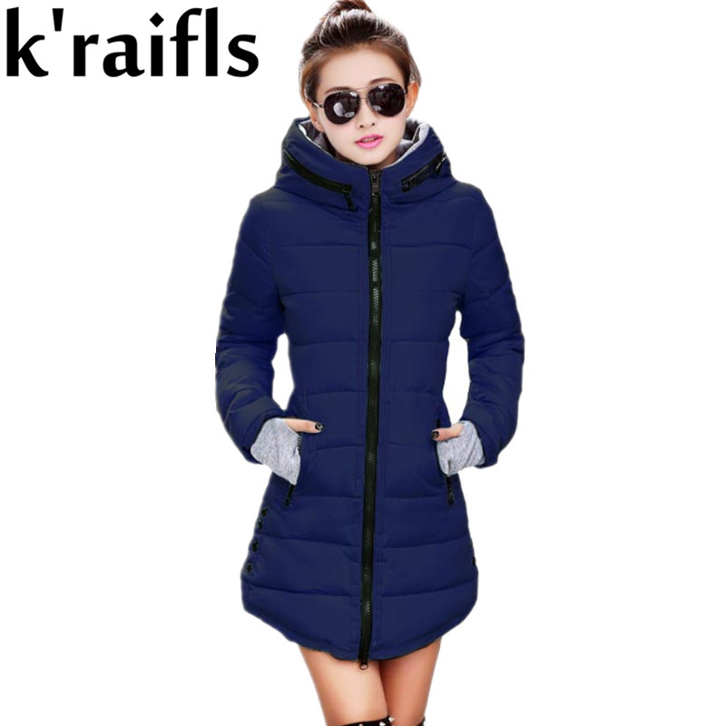k'raifls Womens Winter Jackets Navy and Black New Long Down Cotton Parka Female Jacket Coat Plus Size Slim Casual Outwear 2017 hot autumn womens slim wool warm coat parka navy blue size s xl light tan red navy