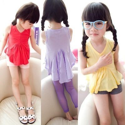 2012 summer clothing kids clothes female child fashion normic long after the vest one-piece dress t-shirt dropshipping