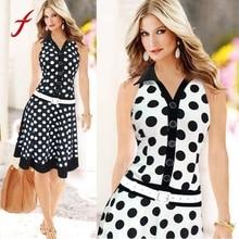 купить 2017 Big Size Summer Dress Women Fashion Polka Dot Sleeveless V-neck Print Dress Ladies Black White Dresses Feminine Plus Size дешево