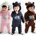 Bebé recién nacido Ropa de Niñas de Lana de Invierno Boy Mamelucos Números Impresos Ropa Infantil Meninas Oídos Oso traje para la Nieve de Los Bebés Monos