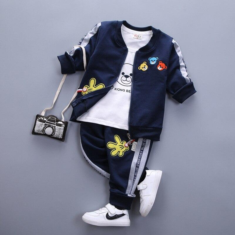 d92c4ec5daab3 3 PSC baby girls sets spring autumn cartoon bear Long sleeve coat+T-shirt+pants  infant sport suit newborn boys clothing sets