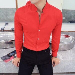 Image 5 - Mandarin Collar Shirt Men 2020 New Autumn Solid Men Shirt Long Sleeve Slim Fit Camisa Social Masculina Casual Mens Shirts 5XL S