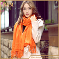 2016 American and Europe hottest plain orange women fashion solid acrylic warm soft silk scarf shawl free shipping