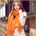 2016 americano y europa más caliente naranja del llano de moda femenina sólido de acrílico caliente suave bufanda de seda envío gratis
