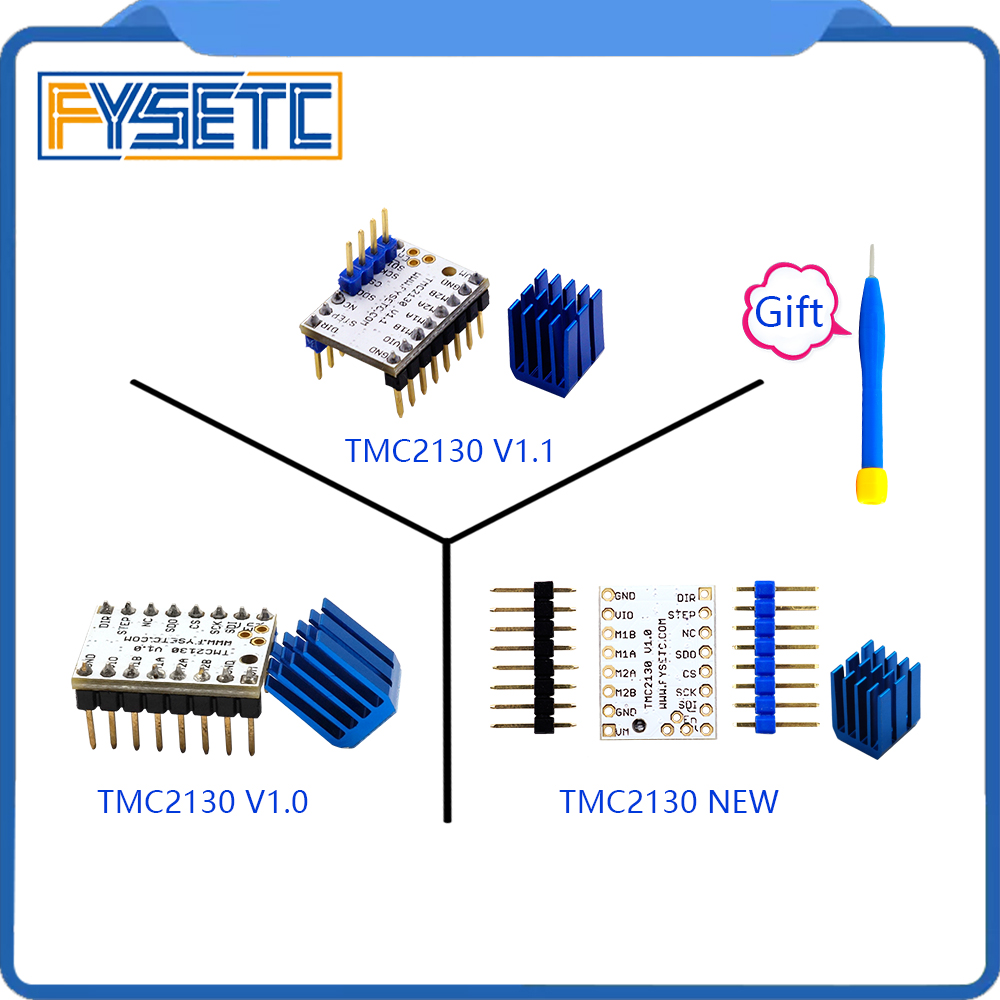 5pcs MKS TMC2130 V1.0/2130 New /TMC V1.1 Three Kinds Stepstick Stepper Motor Driver SPI With Heat Sink Ultra-silent Excellent