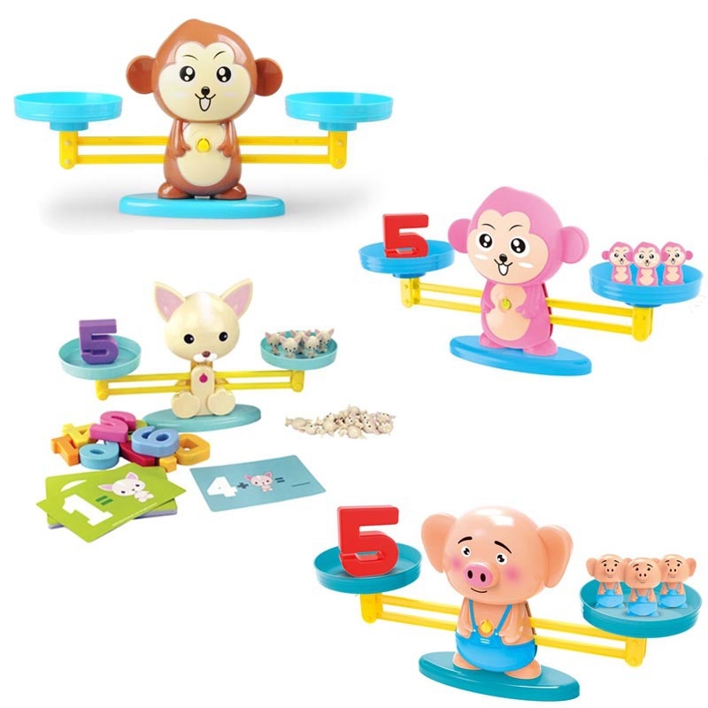 Monkey Balance Scale Number Math Match Game Board Game Montessori Math Balancing Pig Dog Animal Figure Baby Preschool Math Toys image