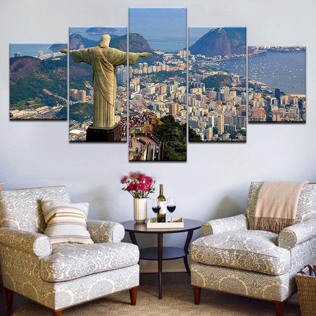 5pcs HD Canvas Painting Rio De Janeiro Brazil Gargoyle Art Group Home Decor Wall Poster Modular Photos
