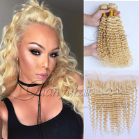 Guanyuhair блондинка глубокая волна Связки с фронтальной закрытие 13X4 613 блондинка вьющихся волос, плетение индийский Реми натуральные волосы с р
