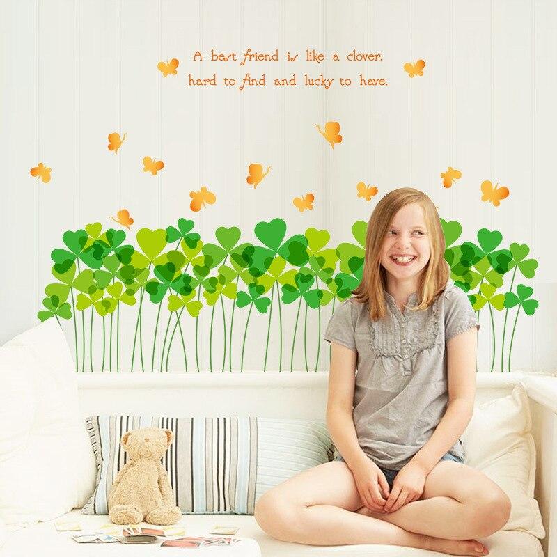Теплая зеленая трава плинтуса линии талии стены любви цветы Трава Сад Гостиная коридор украшения обои