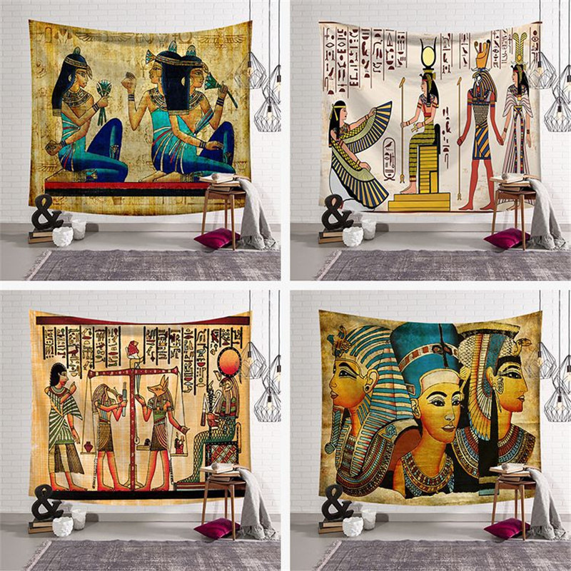 Bohemian Wall Hanging Summer Beach Towel Tapestries Ancient Egyptian mural printing Wall Art Bed Sheet Account Home Decor