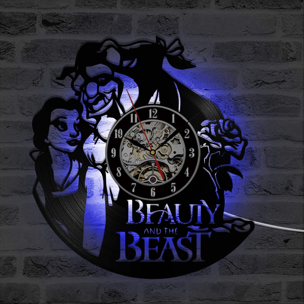 Aliexpress buy beauty and the beast hollow creative led record aliexpress buy beauty and the beast hollow creative led record clock people and flower antique film style 3d wall clock wall art decor from reliable izmirmasajfo