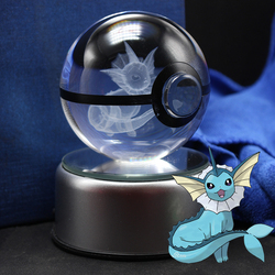 Vaporeon Pokeball Crystal Ball Desktop Decoration Light Glass Ball LED Colorful Base Lamp Gift
