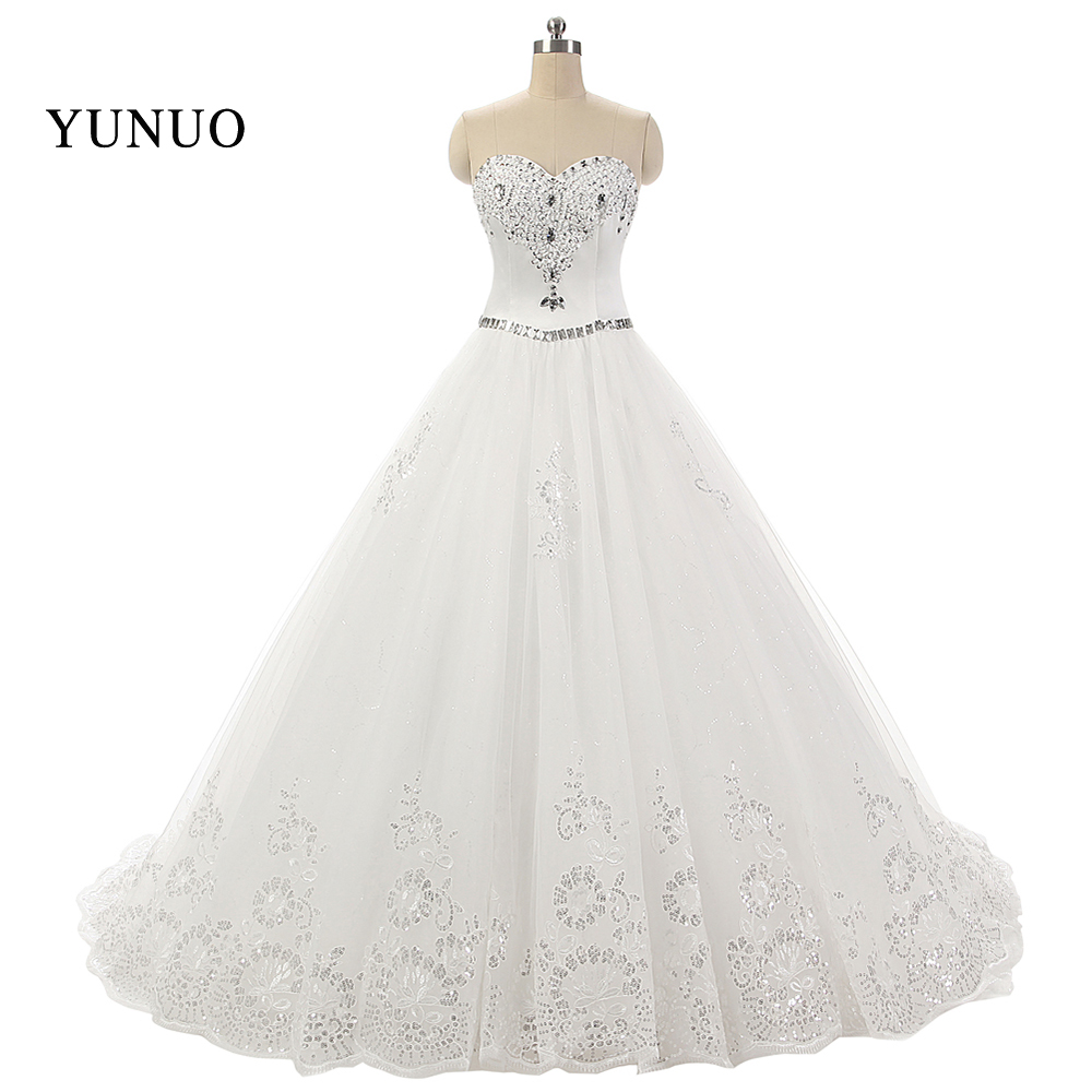84ee2617ef33d Vestido دي noiva الساخن بيع الدانتيل أكمام بلورات الزفاف الأبيض اللباس 2019  مع الحبيب فستان زفاف ريال Pic x1232