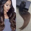 Полный Блеск Прямо Человеческих Волос 100 Реальные Человеческие Волосы клип в Человеческий Волос Бразильский Волосы Выметания Цвет 1 BOmbre #4