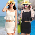sexy women dress 2016 new fashion summer backless peplum crop top+tight ass pencil skirt set 2ps runway dress suit beach dress