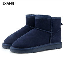 JXANG Brand Hot Sale Women Snow Boots 100% Genuine Cowhide Leather Ankle Boots Warm Winter Boots Woman Shoes 23 Colour