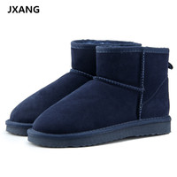 JXANG Brand Hot Sale Women Snow Boots 100 Genuine Cowhide Leather Ankle Boots Warm Winter Boots