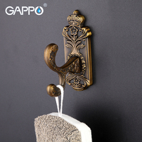 GAPPO Bronze Antique Wall Mount Robe Hooks Clothes Hook Coat Bathroom Accessories Stainless Steel Bath Towel