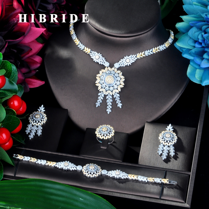 HIBRIDE Fashion Big Pendant Double Tone Bracelet Jewelry Set CZ Earrings Necklace Women Bridal Jewelry Set