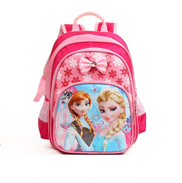 Free GIFT Anna Elsa Children Bag School Bags Girls Cartoon Backpack Kids Character Fashion Schoolbag mochila escolar infantil free shipping 20pcs lot monsters university cartoon drawstring backpack bag children kids bag 34x27cm schoobag party gift