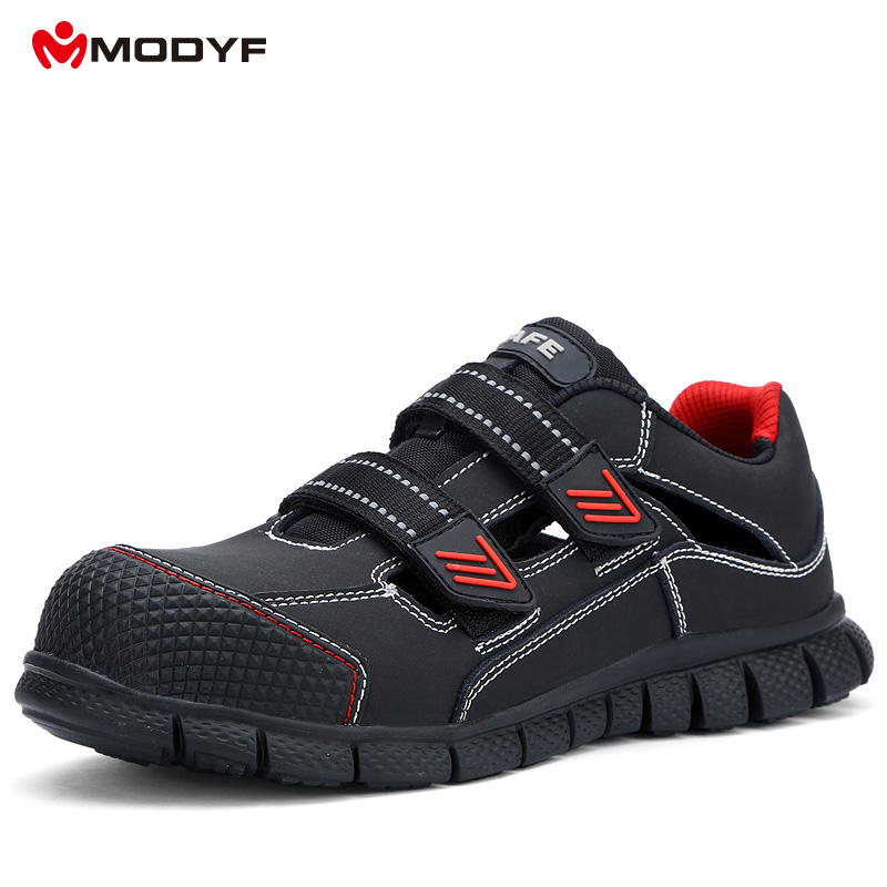 Men's Boots Modfy Mens Safety Shoes Soft And Lightweight Anti-smashing Steel Toe Cap Anti-piercing Construction Work Footwear Hook&loop