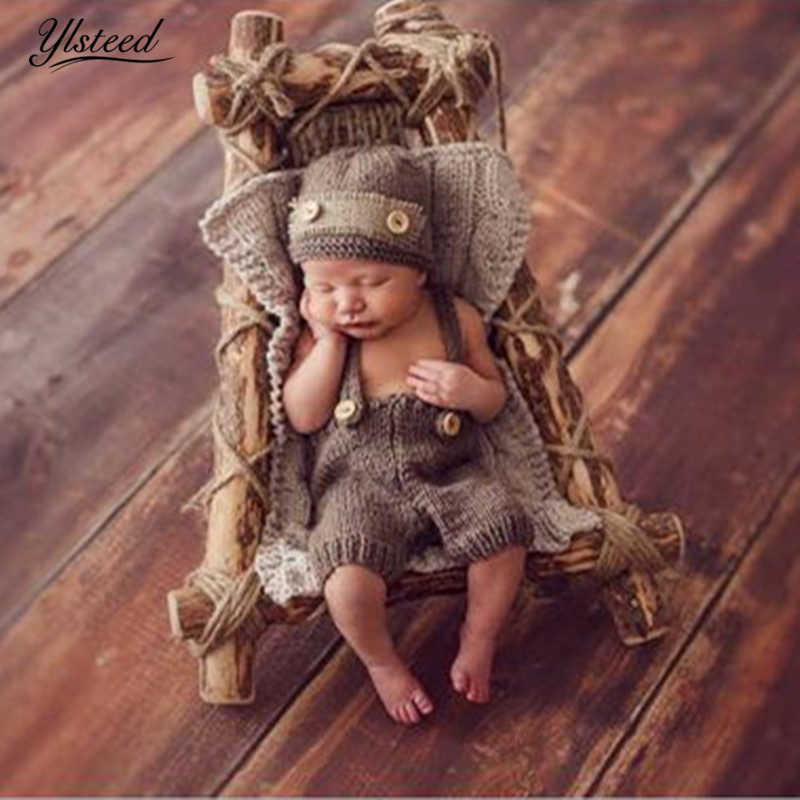 Infant Photography Outfits Newborn Photography Accessories Baby Hat Crochet Costume for Photo Shooting Retro Baby Photo Props
