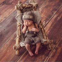 Infant Photography Outfits Newborn Photography Accessories Baby Hat Crochet Costume For Photo Shooting Retro Baby Photo