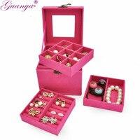 Cubo criativo Caixa de Jóias maquiagem organizador colar/brinco Coleção de Jóias de viagem Portátil caixas de Presente para a menina 653