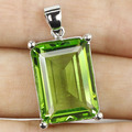 18x13mm Green Tsavorite Garnet Created SheCrown Woman's Engagement   Silver Pendant 25x15mm