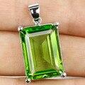 18x13mm Verde Tsavorite Garnet Criado SheCrown mulher Engagement Pingente de Prata 25x15mm