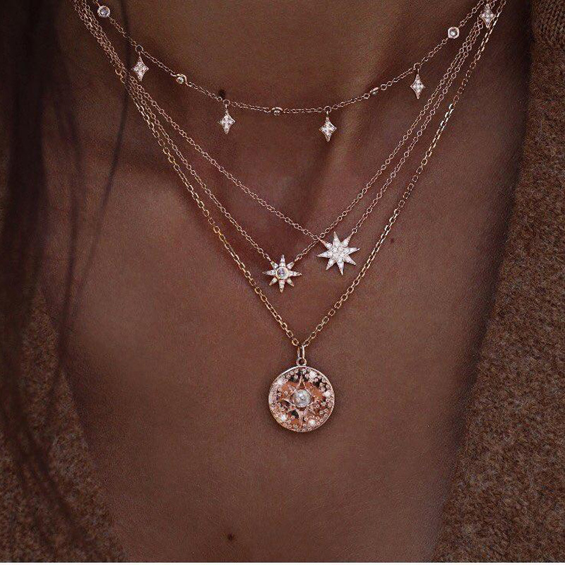 Tocona Boho Shiny Crystal Gem Round Stars Pendant Multilayer Chain Necklace Charm Pearl Gold Chain Party Jewelry Gift 6653