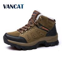 VANCAT Winter Fur Warm Snow Boots Men Shoes Men Adult Couples Casual Ankle Boots Rubber Non