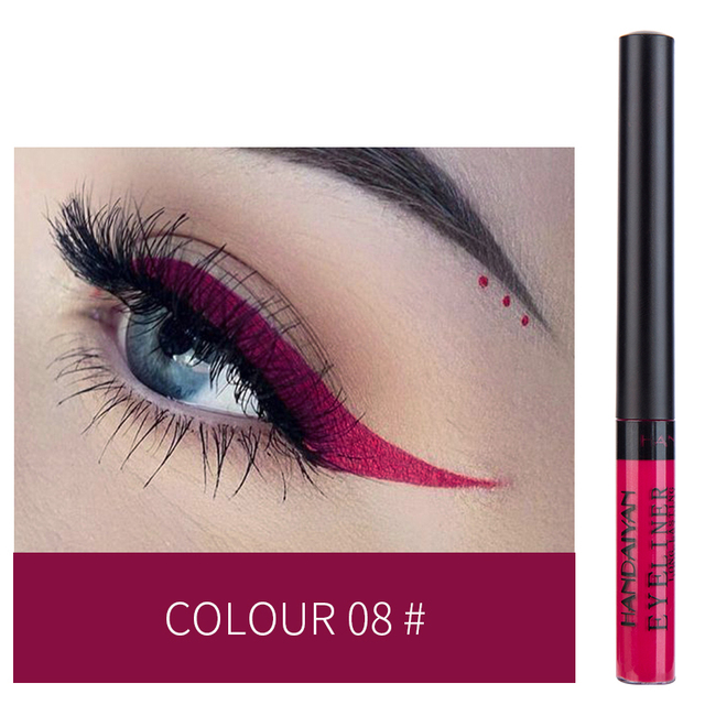 HANDAIYAN 12 Colors Waterproof Liquid Eyeliner Makeup Black White Pink Color Glitter Eye Liner maquiagem China Makeup TSLM2 2