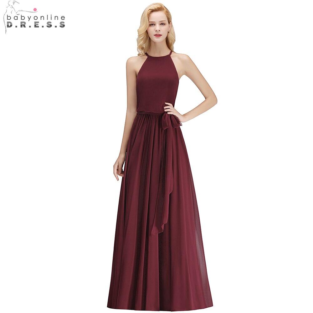 Babyonline Sexy Halter Chiffon Long   Bridesmaid     Dresses   2019 Zipper Up Back Sleeveless Wedding Party   Dress   Custom Made