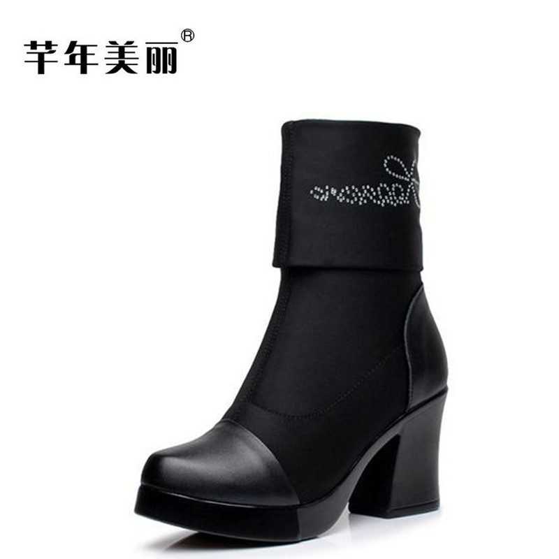 Autumn and winter new women boots Elastic cloth high heel boots Large size waterproof platform short boots boty bottine femme