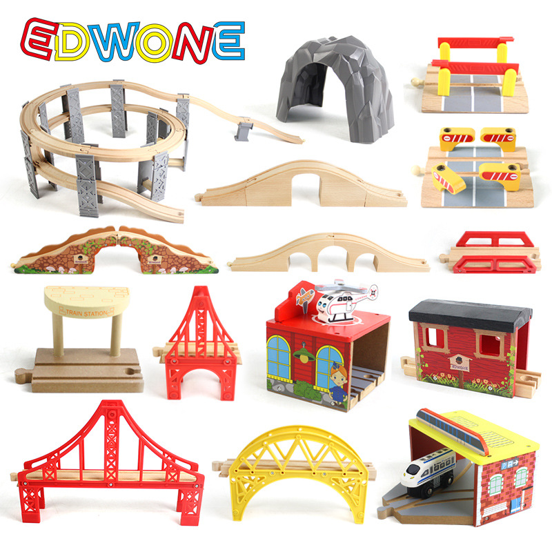EDWONE Wooden Track Railway Bridge Accessories Educational Toys Tunnel Cross Bridge Compatible All Wood Track  Biro