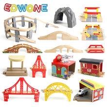 Edwone de madeira trilha ferroviária ponte acessórios brinquedos educativos túnel ponte transversal compatível toda a madeira pista biro