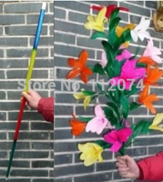 Vanishing Disappearing Rainbow Metal Cane to Flowers (21 flowers) Magic Tricks,Professional Magician Stage Magie Gimmick Funny