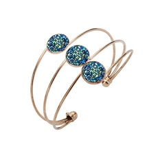 Acroo New Color Resin Stone Arm Cuff Adjustable Open Bangles Gold Color 3 Layers Metal Arm Bracelets & Bangles for Men Women