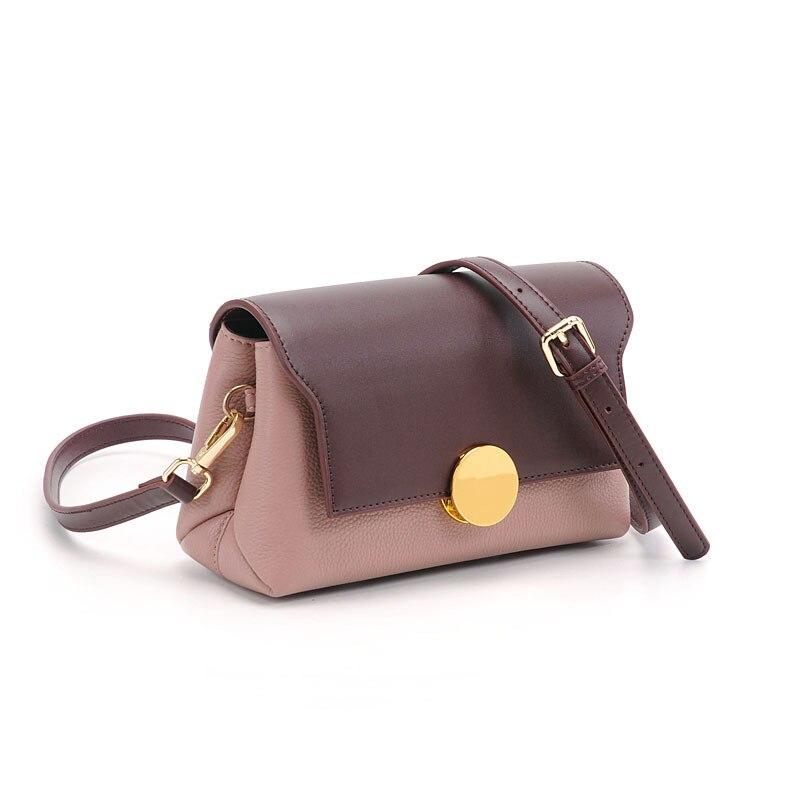 Mode Bolso Mujer Echt Leer Vrouwen Messenger Bags Brede Band Schoudertas Panelled Kleur Dames Crossbody Tassen Twee Bandjes - 3