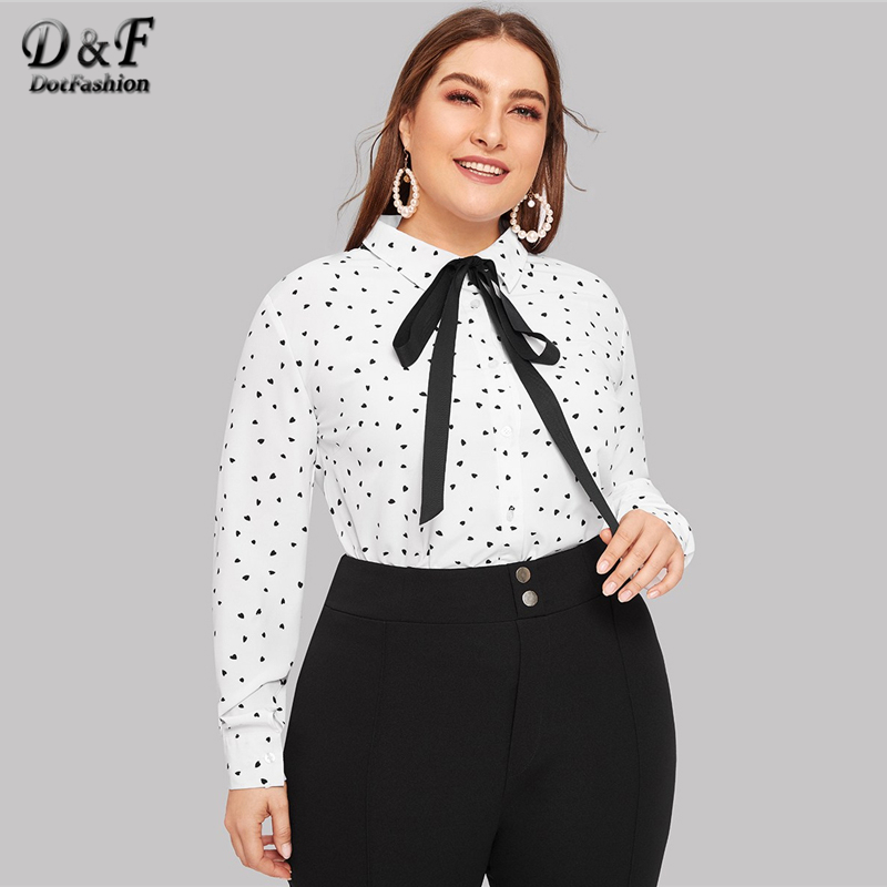 Dotfashion Plus Size White Heart Print Tie-Neck   Blouse     Shirt   2019 Spring Long Sleeve Casual Clothing Womens Tops And   Blouses