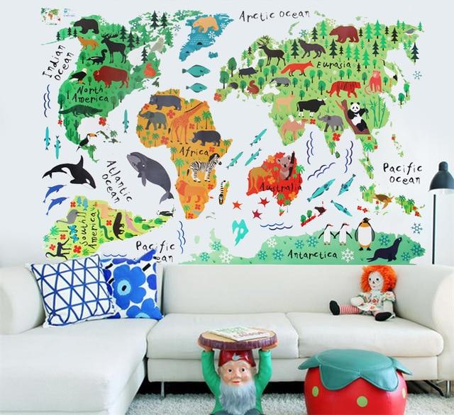 Cm Cute Animal World Map Wall Sticke Wall Art Decor For Home - Cute world map wallpaper