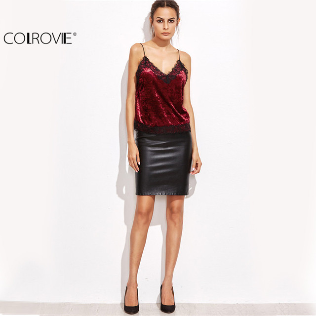 Sexy Fashion Tops Women Strap Sexy Lace Tops Burgundy Contrast Lace Trim Velvet Sleeveless Cami Top Camisole