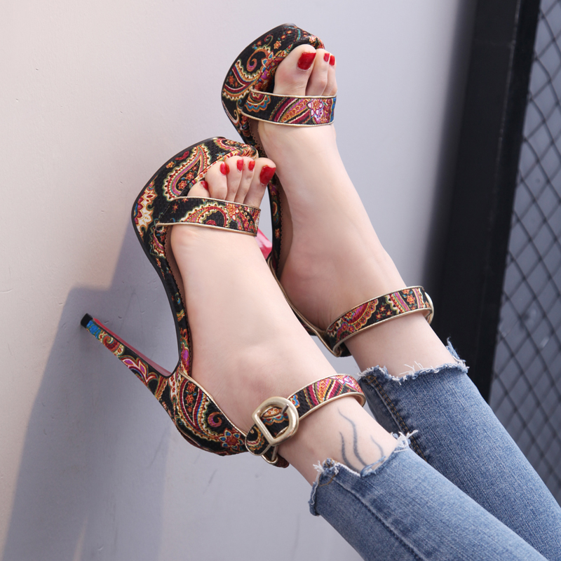 summer open toe thin high heels pumps with buckle platform sandals women patterns simple fashion female designer sandals shoes