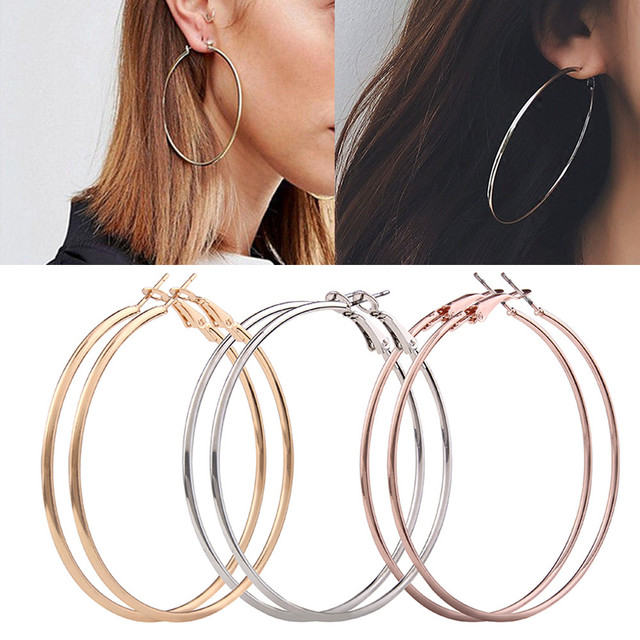 3 Pair Circle Hoop Earrings Brincos Round Silver Rose Gold Large Party For