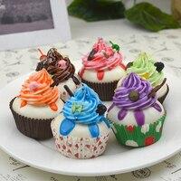6 Pçs/set decoração Do Casamento Simulação de Frutas Bolo De Creme De Gelo do copo de Papel Creme bolo Fotografia Modelo Decorar
